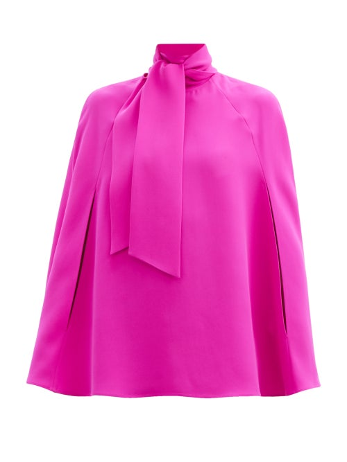 Valentino - Tie-neck Silk-cady Cape Blouse - Womens - Fuchsia