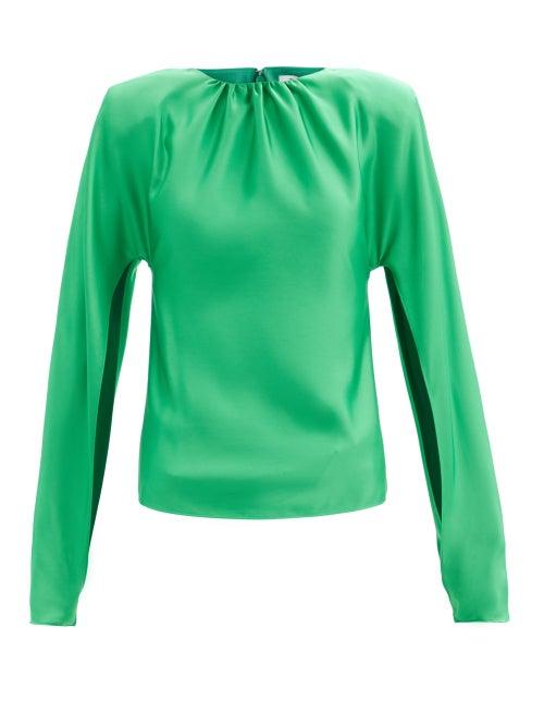 The Attico - Split-sleeve Satin Blouse - Womens - Emerald