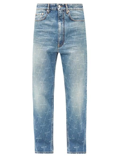 Balenciaga - Logo Stripe-print Straight-leg Jeans - Mens - Navy