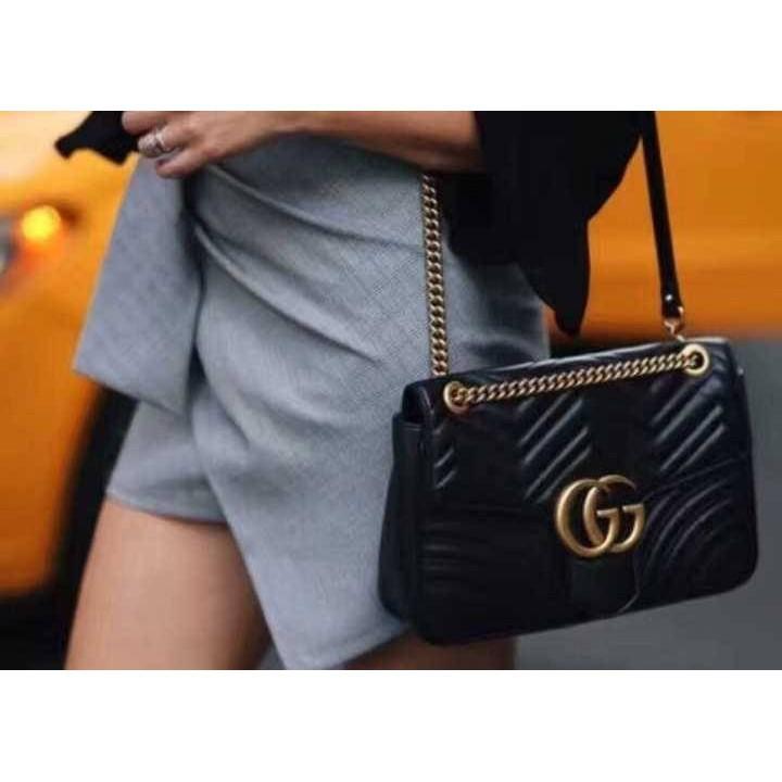 《輕奢》全新專櫃正品 Gucci 443497 GG Marmont 黑色 小款26CM
