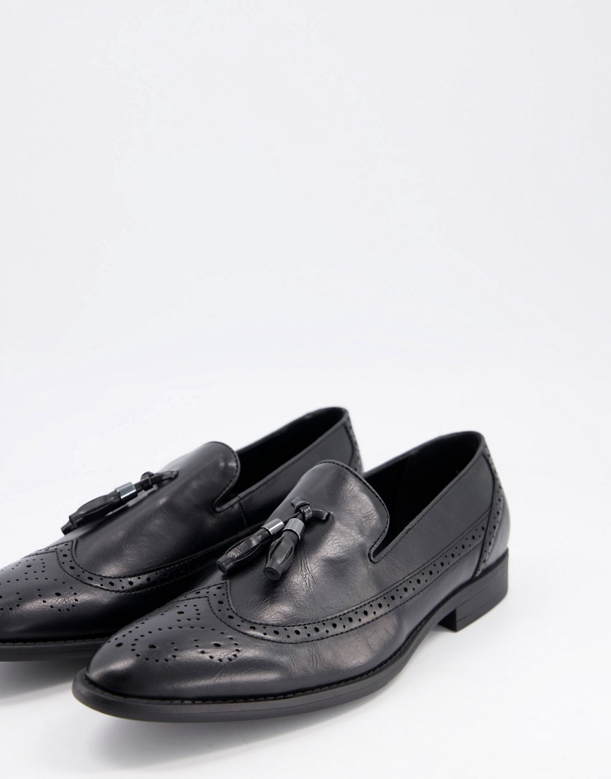ASOS DESIGN brogue loafers in black faux leather with tassel
