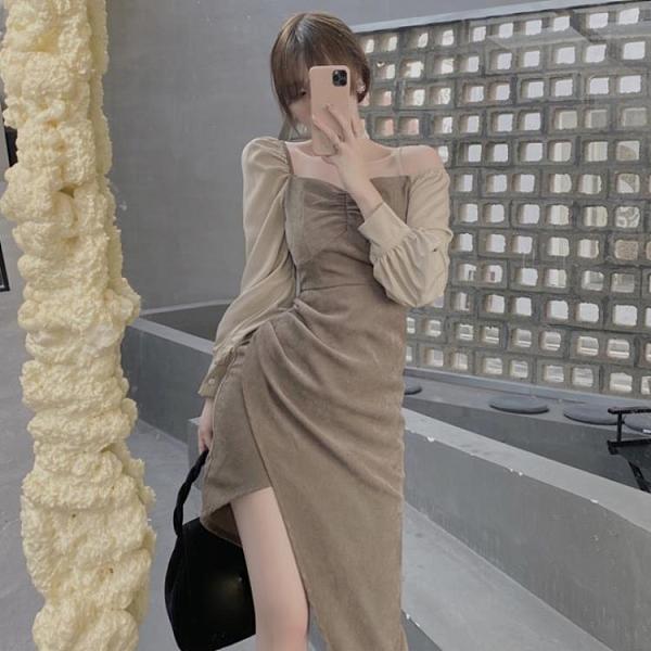 年前特銷 連衣裙年新款秋冬季不規則開叉中長款方領性感燈芯絨裙子女裝