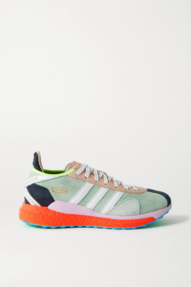 "adidas Originals - X Human Made ""tokio Solar Hu"" 皮革绒面革边饰网眼运动鞋 - 灰绿色 - UK6"
