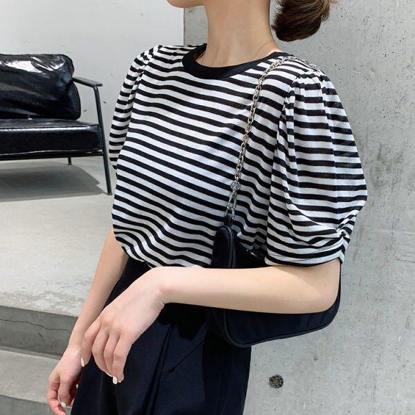 95棉條紋破洞露背t恤女夏新款韓版短袖圓領不規則小心機上衣