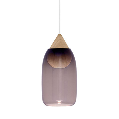 Liuku 朝露 水滴吊燈(原木、淡紫玻璃)
