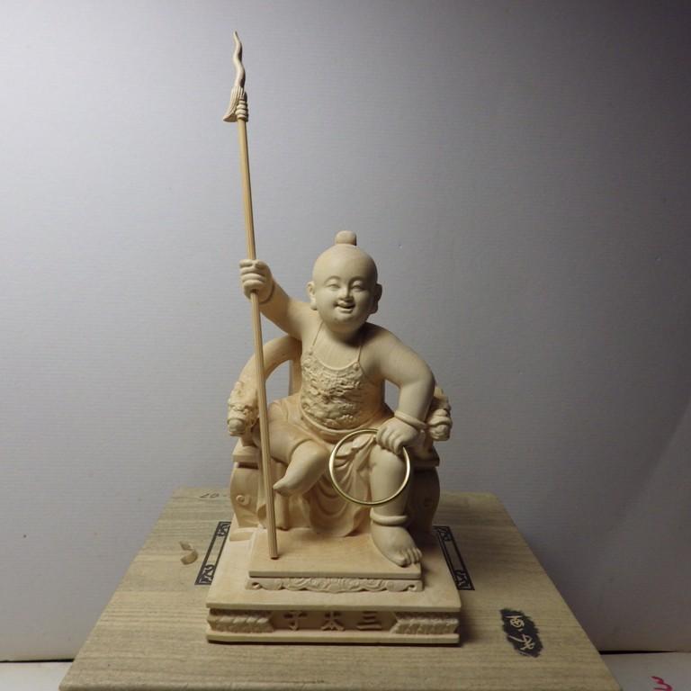 黃楊木精雕三太子幼童坐姿(高10公分) -