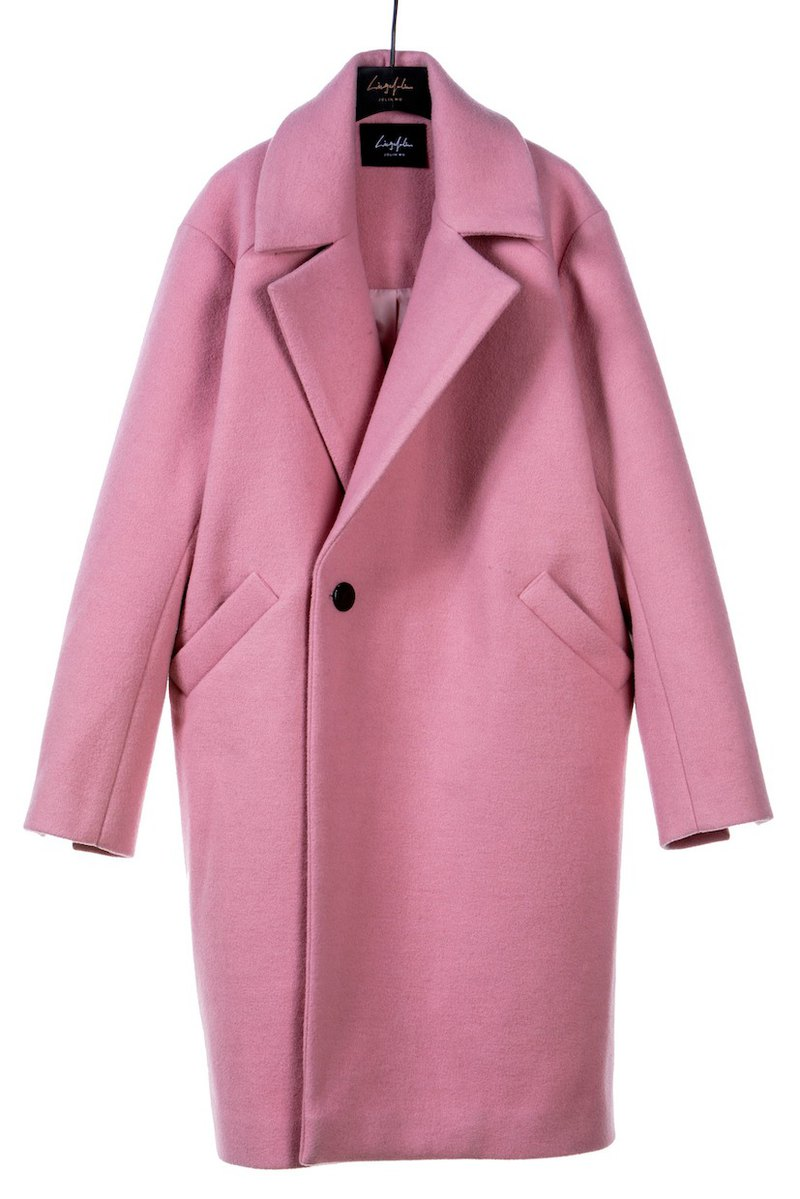 AW19粉紅經典羊毛中長版大衣