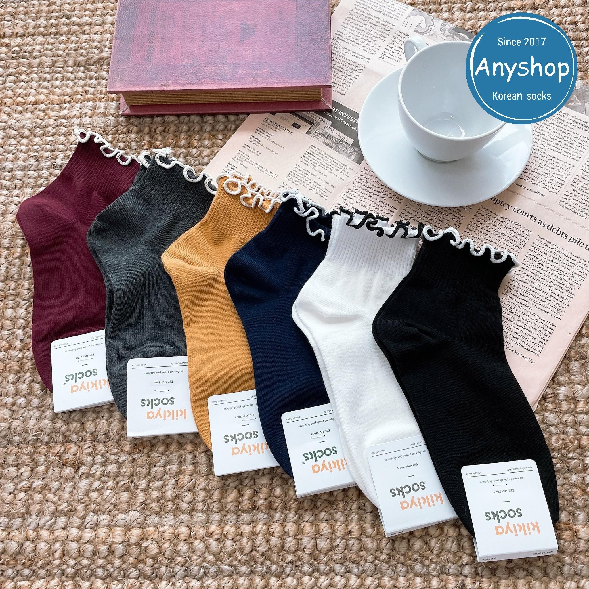 韓國襪-[Anyshop]荷葉邊撞色中筒襪
