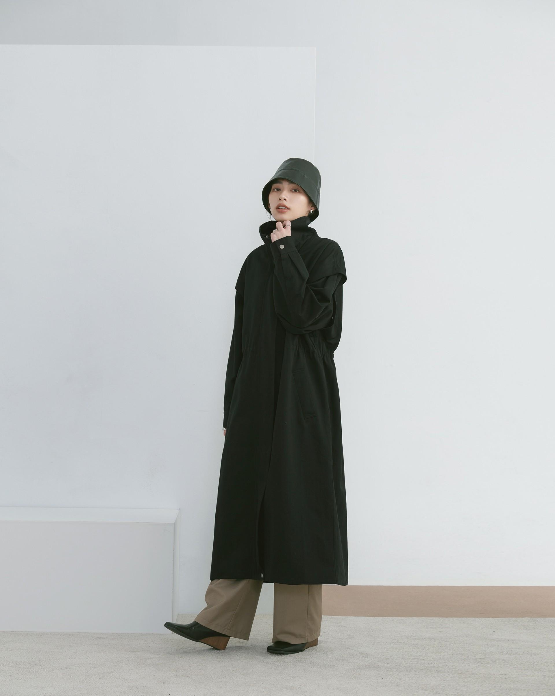 兩穿式抽繩風衣外套-Meierq