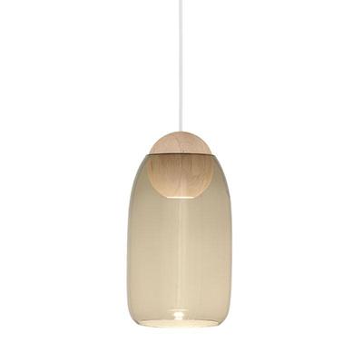 Liuku 朝露 球形吊燈(原木、煙燻玻璃)