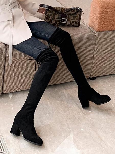 長靴 長靴女過膝2020秋冬新款彈力顯瘦長筒靴粗跟薄款高筒靴中高跟女靴 風馳