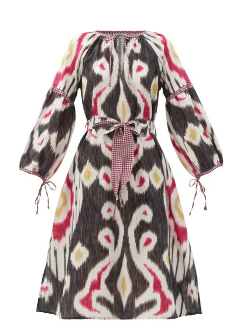 D'Ascoli - Uzbek Tie-waist Ikat-print Cotton Dress - Womens - Black Multi