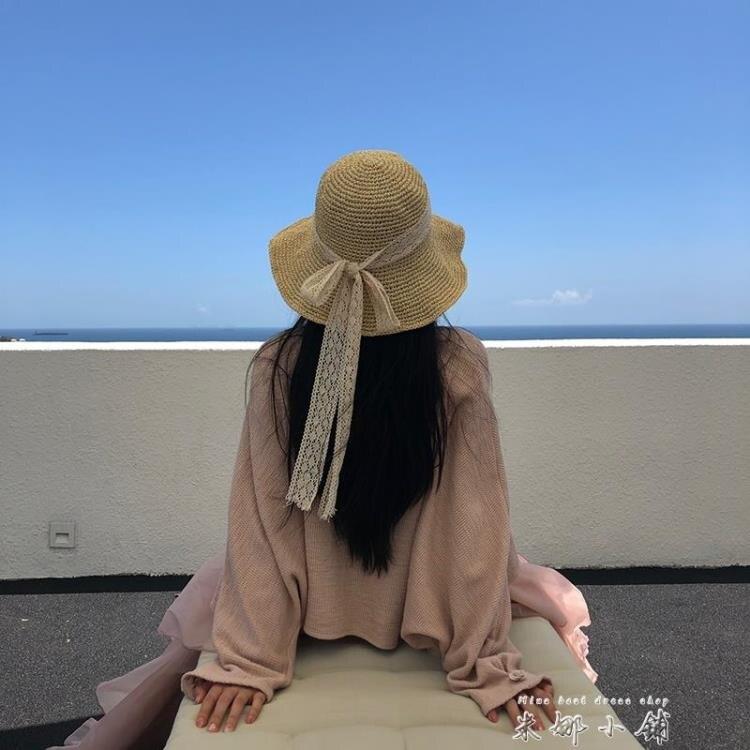 網紅草帽女韓版夏季蕾絲系帶沙灘帽小清新度假涼帽防曬遮陽帽子潮yh