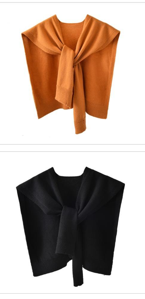夏季空調房搭肩小披肩外搭網紅襯衫秋冬季配裙打結針織圍巾秋季女yh