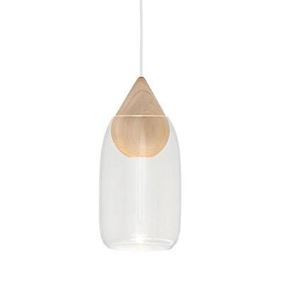 Liuku 朝露 水滴吊燈(原木、透明玻璃)