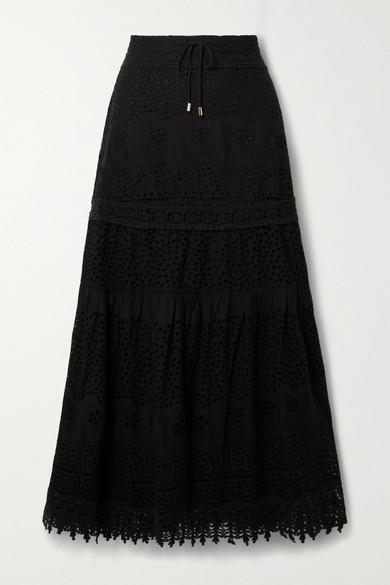 Melissa Odabash - Alessia 马德拉刺绣纯棉中长半身裙 - 黑色 - medium