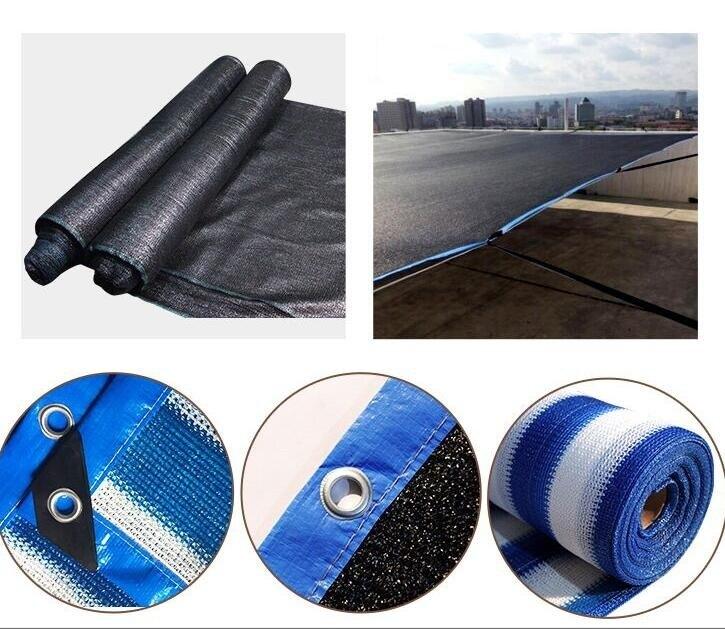 現貨抗老化黑色平針加密加厚藍白條紋庭院陽台大棚遮陰隔熱防曬遮陽網