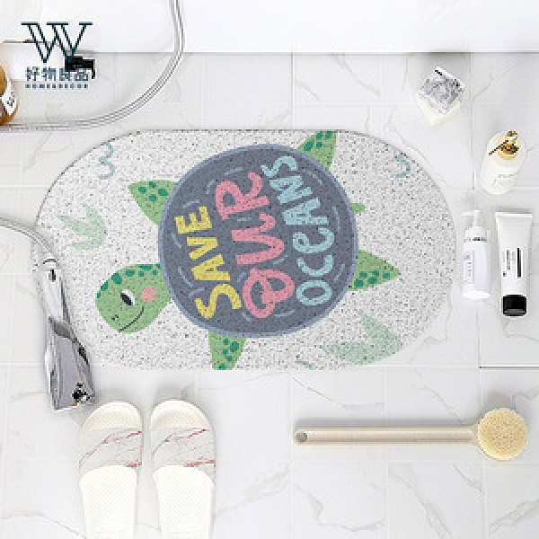 【好物良品】浴室防滑絲圈瀝水墊40×70cm_小小海龜_橢圓型系列小小海龜_40×70cm