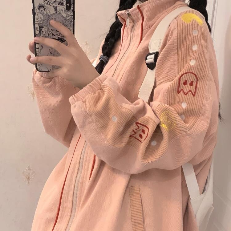 櫻田川島新款秋冬百搭加厚寬鬆工裝夾克拉鏈外套ins女裝潮 新年鉅惠