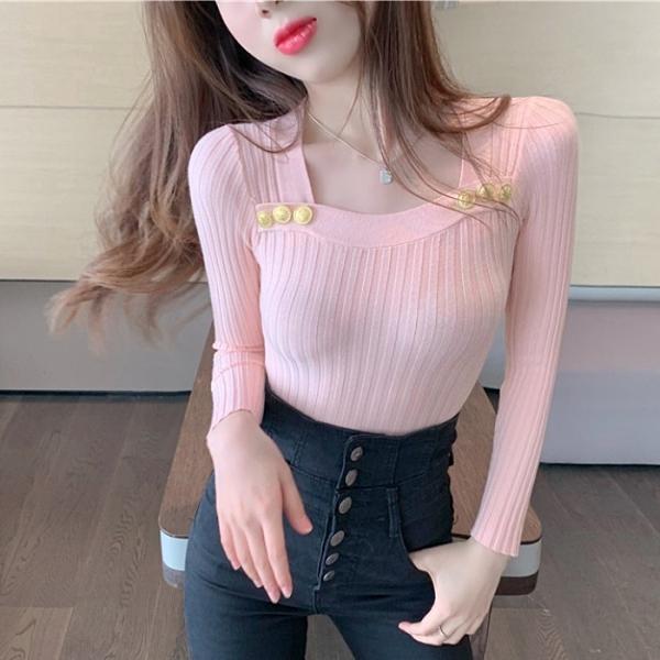 年底促銷 毛衣女秋季新款設計感方領心機紐扣顯瘦針織衫長袖打底上衣潮