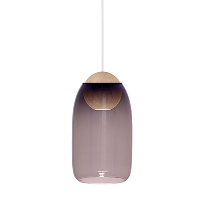 Liuku 朝露 球形吊燈(原木、淡紫玻璃)