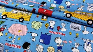 豬豬日本拼布 限量版權卡通布 史努比校車 藍天色款 牛津布厚棉布料材質