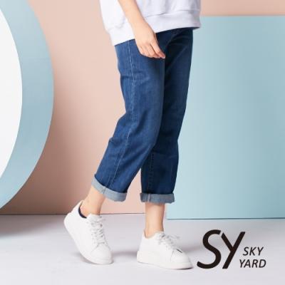 【GABBIANO】水洗刷色長直筒寬褲-牛仔藍