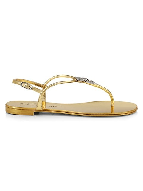 Sagita Crystal-Embellished Metallic Leather Thong Sandals