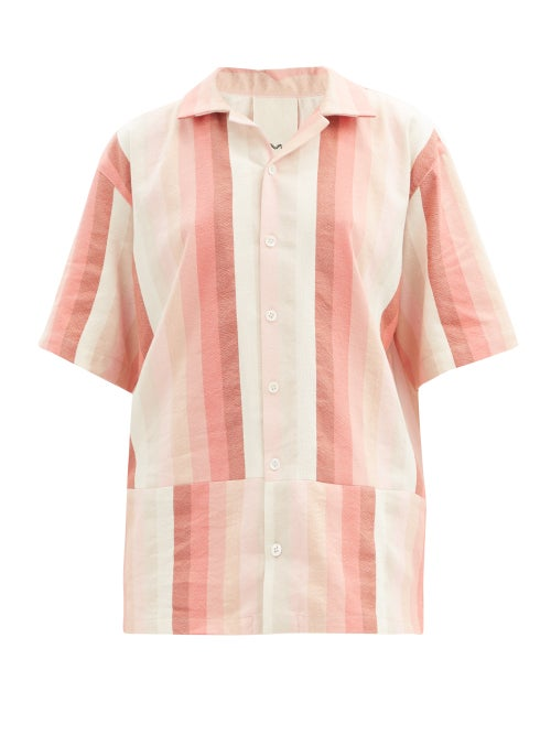 Marrakshi Life - Gradient-stripe Cotton-blend Short-sleeved Shirt - Womens - Pink Stripe