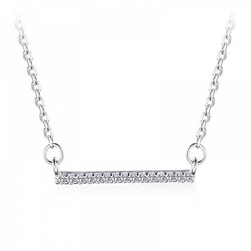 【米蘭精品】925純銀項鍊鋯石吊墜-一字簡約百搭女飾品73ze13