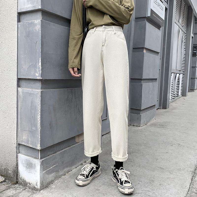 高腰牛仔褲女寬鬆顯瘦純色素面簡約百搭休閒學生個性韓版ins潮直筒褲闊腿哈倫褲長褲