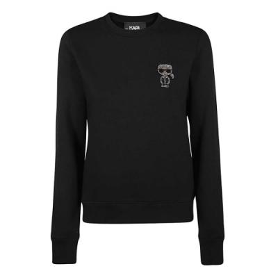 Karl Lagerfeld 水鑽墨鏡老佛爺棉質長袖T恤/運動衫 (黑色)