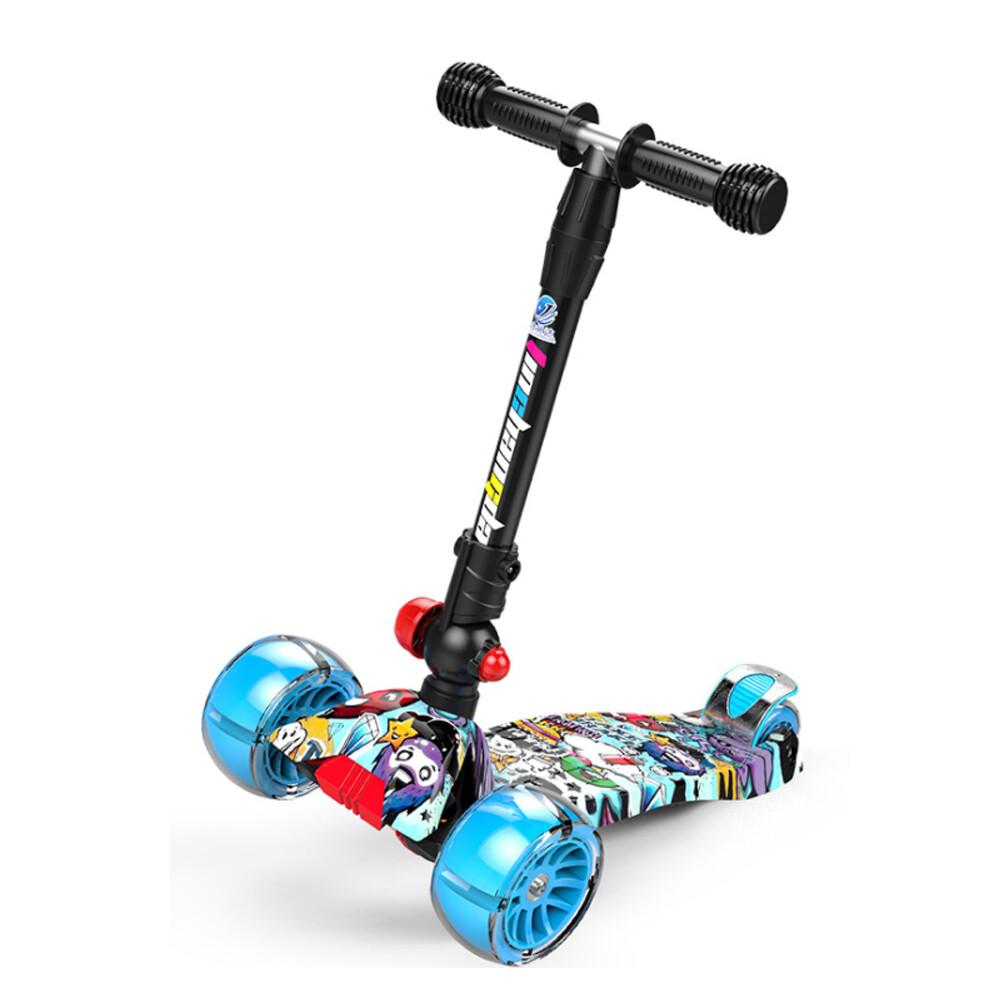 i-smart街頭塗鴉風閃光兒童三輪折疊滑板車 (有閃光)