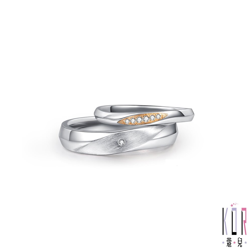 KOR蔻兒 輕語呢喃鑽石白鋼成對戒指