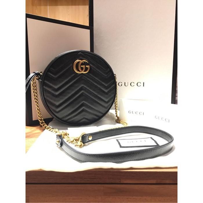 正品 GUCCI 全新黑色全皮 MARMONT MINI ROUND 金鍊圓型斜背包圓餅包 550154 現貨