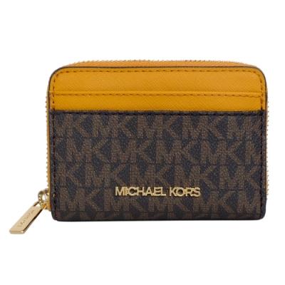 MICHAEL KORS字印皮革方型卡夾零錢包(深咖黃邊)