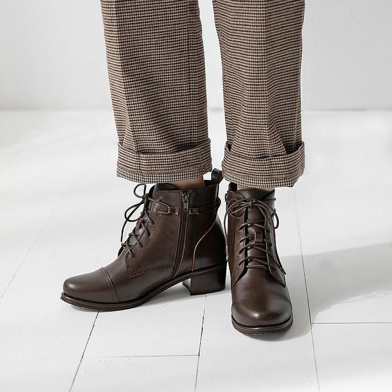 卓別林繞帶軍靴-核桃-女人節新品