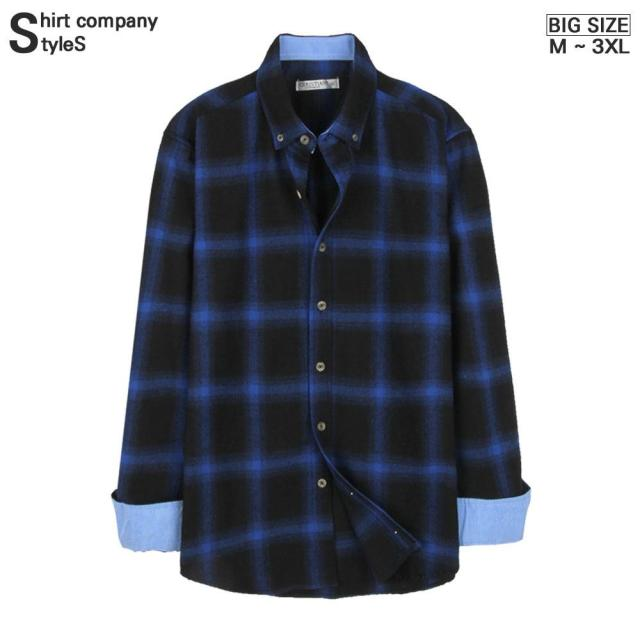Styles_724 大尺碼 男士用 格子 長袖 襯衣