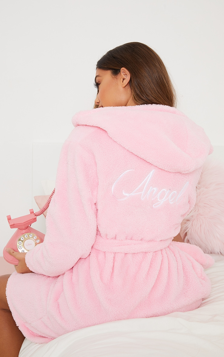 Baby Pink Angel Slogan Fluffy Dressing Gown