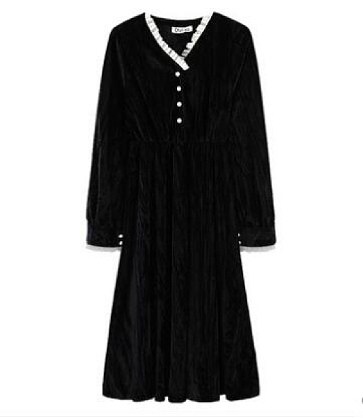 法式黑色赫本風絲絨連衣裙打底小個子年新款秋冬女裝內搭裙子