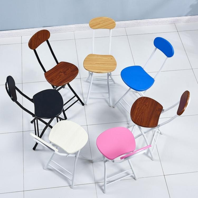 折疊椅 折疊椅子家用餐椅懶人便攜休閑凳子靠背椅宿舍椅簡約電腦椅折疊凳【優品生活館】