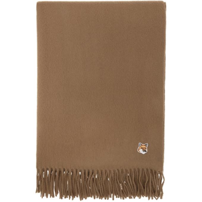 Maison Kitsune 黄褐色 Small Fox Head 羊毛围巾