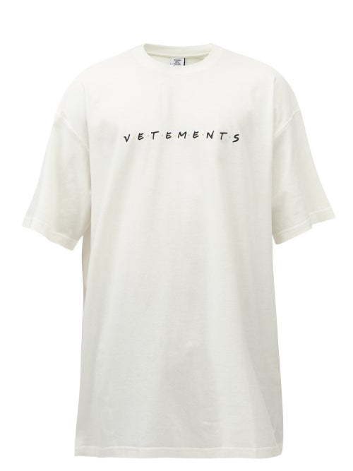 Vetements - Friendly Oversized Logo-print Cotton T-shirt - Mens - White