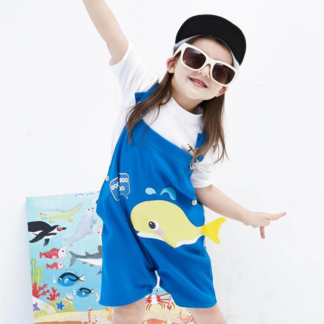 [嘟嚕嚕嘟嚕] 小鯨魚 揹帶套裝 男女共用 藍色