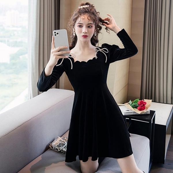 年底促銷 秋冬法式復古赫本風小黑裙輕奢名媛氣質方領蝴蝶結金絲絨連衣裙女