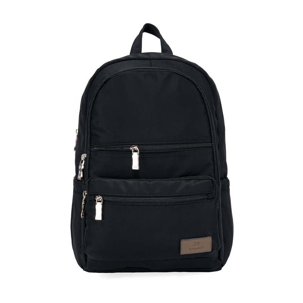 J II 後背包-極限休閒雙拉鍊後背包-黑色-6366-1
