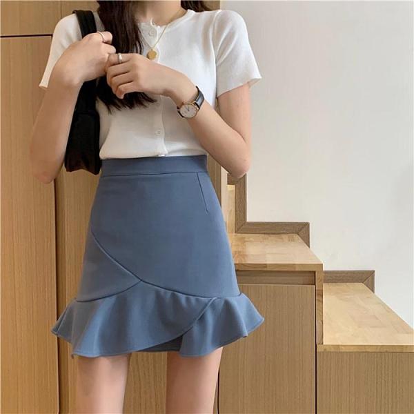秋冬2021新款韓版不規則荷葉邊魚尾短裙女高腰A字半身裙包臀裙子 貝芙莉