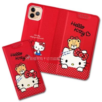 三麗鷗授權 Hello Kitty 凱蒂貓 iPhone 11 Pro Max 6.5吋 緞帶彩繪磁力皮套(凱蒂C)