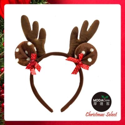 摩達客耶誕派對-棕色鹿角鈴鐺蝴蝶結圓耳髮箍