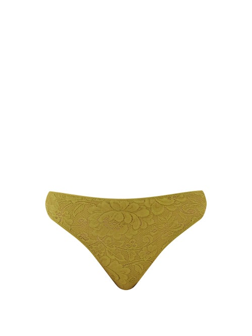 Araks - Tine Floral-lace Thong - Womens - Green